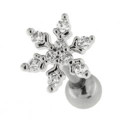 Jeweled Snow Flake Cartilage Helix Tragus Piercing Ear Stud-0
