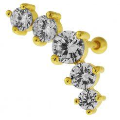 Dazzling Five CZ Stone Cartilage Helix Tragus Piercing Ear Stud-0