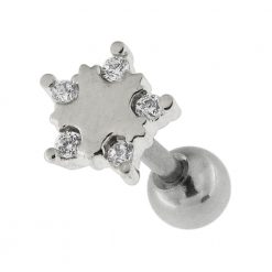 Star with Micro Setting CZ Cartilage Helix Tragus Piercing Ear Stud-0