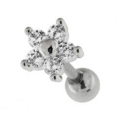 Flower Fancy Jeweled Cartilage Helix Tragus Piercing Ear Stud-0