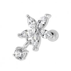 Flower with Hanging CZ Stone Helix Tragus Piercing Ear Stud-0