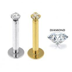 14K Gold Internal Lip Labret with Lab Grown Diamond Jeweled Top