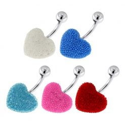 Surgical Steel Navel Bar with Colorful Tiny Bead Heart-0
