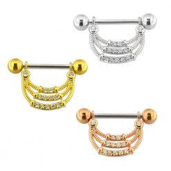 Micro Jeweled Tri Rope Nipple Piercing Bar-0