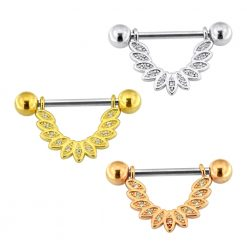 Micro Jeweled CZ Floral Leaf Nipple Piercing Bar-0