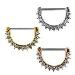 Jeweled Round CZ Nipple Clicker Piercing Jewelry-0