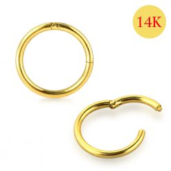 14K Solid Gold Classic Hinged Segment Clicker Ring-0